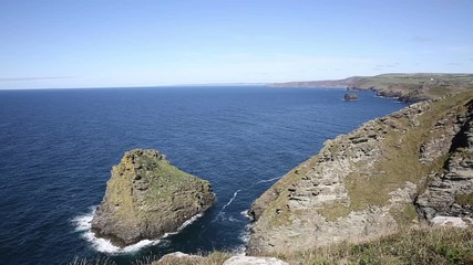 Fototapete - North Cornish coast view towards Boscastle from Tintagel Cornwall beautiful blue sea and sky