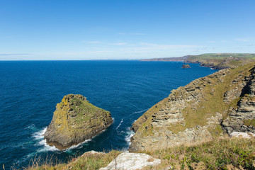 Wall Mural - North Cornwall coast view towards Boscastle from Tintagel beautiful blue sea and sky
