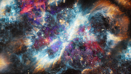 Nebula and stars in deep space, mysterious universe. Elements furnished by NASA