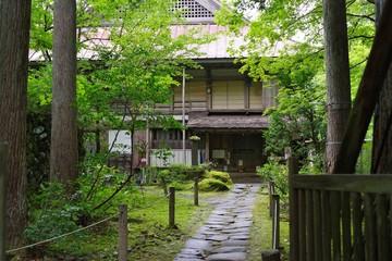 日本の古い神社の境内