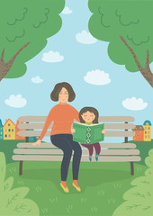 Mother and daughter in the park. Woman and baby girl sitting on the bench outdoors. Child read book. Vector illustration.