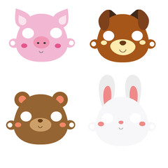 Animal paper masks. Pig, rabbit, bear and dog face masks for party or photo and video chat