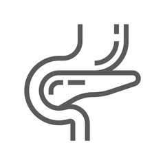 Pancreatic Diabetes Line Icon