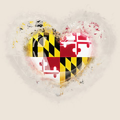 maryland state flag on a grunge heart. United states local flags