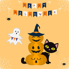 Happy Halloween. Three pumpkins on each other, in the hat of a witch. The black cat sits behind the pumpkins. Reduction with flags, decoration from the web and flags, spider.