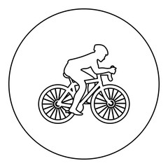 Cyclist on bike silhouette icon black color in round circle