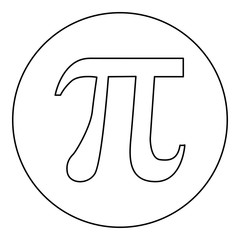 Symbol Pi icon black color in round circle