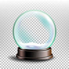 Christmas Snowglobe Vector. Glossy Dome. Magic Xmas Holiday Souvenir. Transparent Background . Realistic Illustration