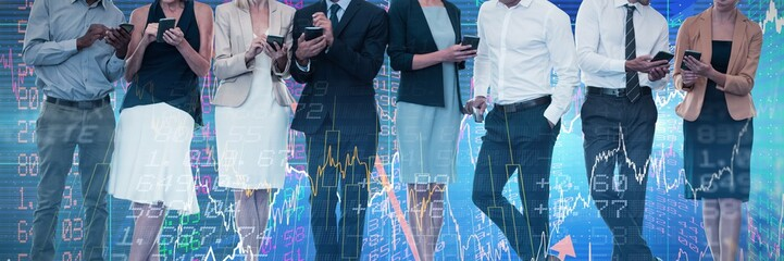Composite image of business people discussing over wireless