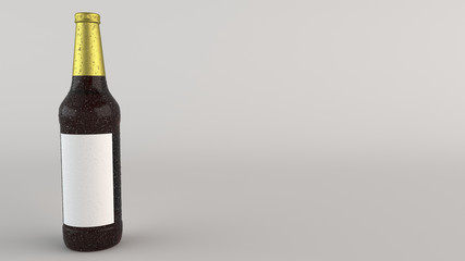 Mock up of tall beer bottle with blank label and condensation