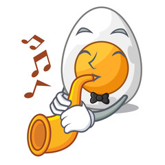 With trumpet peeled boiled egg on mascot cartoon
