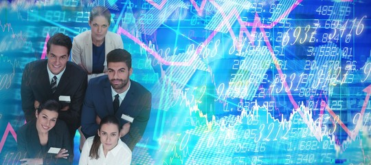 Composite image of high angle portrait of business people with