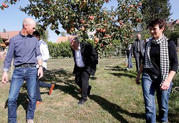 Johann N. Schneider-Ammann, Head of the Federal Department of Economic Affairs, Education and research visits the farm of Reto Streit und Ursula Knuchel Streit ahead of two referendums held in Switzerland on September 23, in Rosshaeusern
