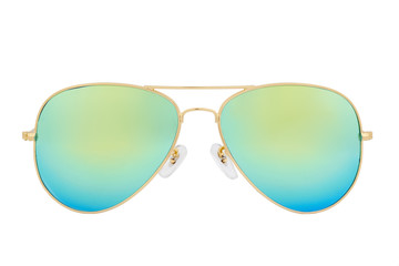 Gold sunglasses with Green Chameleon Mirror Lens isolated on white background Wall mural