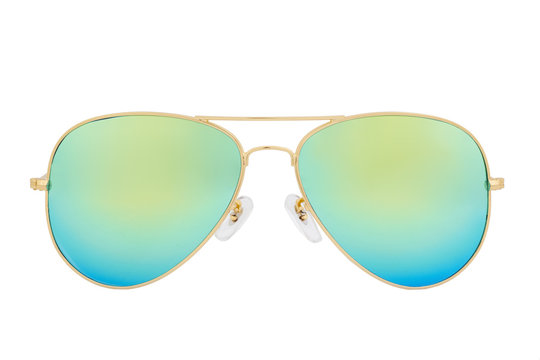 Gold sunglasses with Green Chameleon Mirror Lens isolated on white background