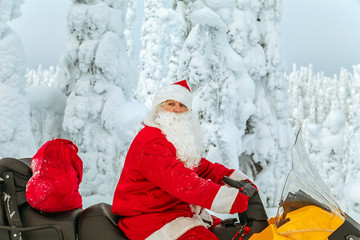 Authentic Santa Claus is riding a snowmobile through the winter forest.