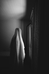 Person disguised as a ghost