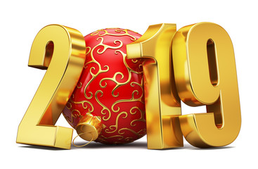 New year golden inscription 2018 and a red ball. 3d rendering.