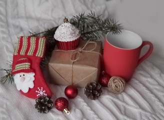 cute gifts for Christmas on a white background