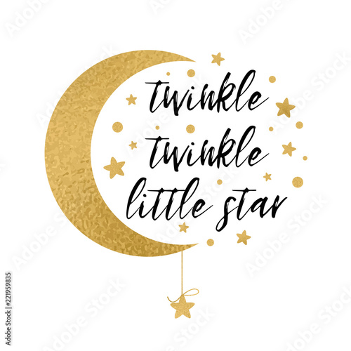 Twinkle twinkle little star text with gold star and moon for baby twinkle twinkle little star text with gold star and moon for baby shower card design template maxwellsz