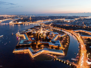 Aerial view of the night city of St. Petersburg, Peter and Paul Fortress. Wall mural