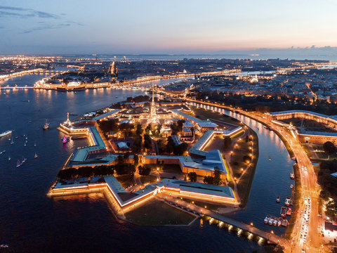 Aerial view of the night city of St. Petersburg, Peter and Paul Fortress.