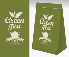 Paper packaging with a label for green tea. Vector label for green tea with a pattern twig tea and a kettle. Paper 3D package with this label.