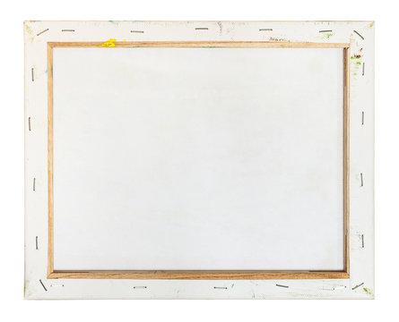 back side of primed canvas stretched over frame