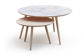 Modern white round coffee tables on thin legs and marble and wood countertop. 3d render