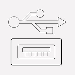 Usb ports icon line element. Vector illustration of usb ports icon line isolated on clean background for your web mobile app logo design.