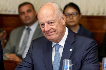 U.N. Special Envoy for Syria Staffan de Mistura attends a meeting during consultations on Syria at the European headquarters of the United Nations in Geneva