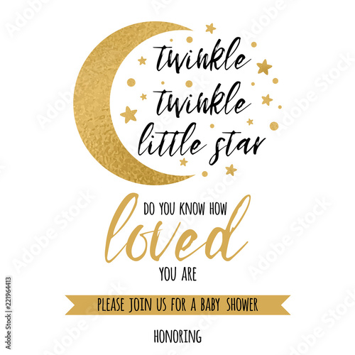 Twinkle Little Star Text Loved With Gold And Moon For