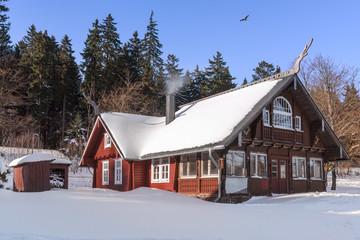 Eingeschneite Hütte