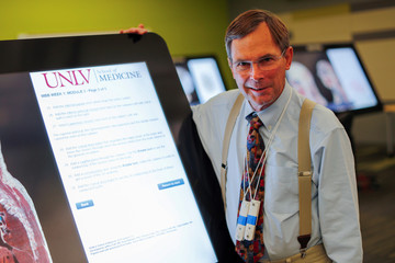 Dr. Jeffrey C. Fahl, MD, FAAP, Professor and chair of Anatomy at UNLV School of Medicine shows a virtual anatomy system at the school, in Las Vegas