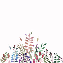 Tender beautiful gentle autumn wonderful colorful herbal floral red yellow orange grass, leaves and berries composition watercolor hand illustration. Perfect for greetings card, textile