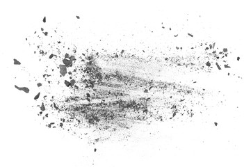 Charcoal dust texture isolated on white background