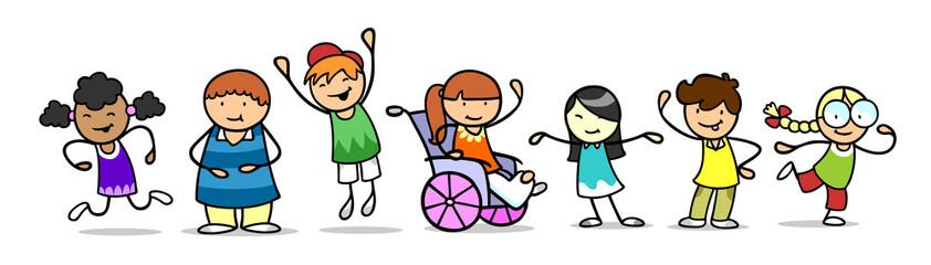 Glückliche Gruppe Kinder mit Mädchen im Rollstuhl