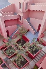 Geometric building stairs. The red wall, La manzanera. Calpe