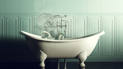 Steamy Blue Stone Bathroom With Iron Bath and Water Nymph Spirit 3d illustration 3d render