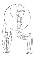 Illustration of exercises with clubs.