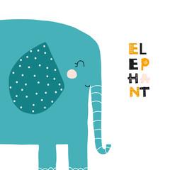 Cute cartoon elephant. Kids fashion graphic. Vector hand drawn illustration.