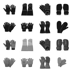 Isolated object of glove and winter symbol. Collection of glove and equipment stock symbol for web.