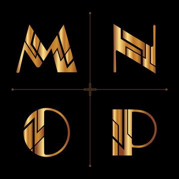 art deco alphabet design letters vintage vector (m, n, o, p)