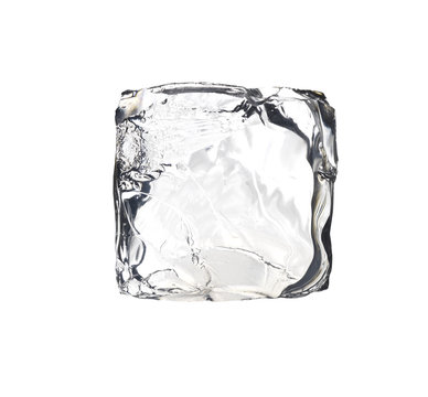 square ice cube isolated on white background