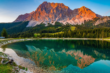 A beautiful view on the Ehrwalder Almsee and the Zugspitze on a sunny summer day in Austria, September 2018 Wall mural