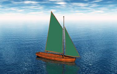 Segelschiff mit grünen Segeln