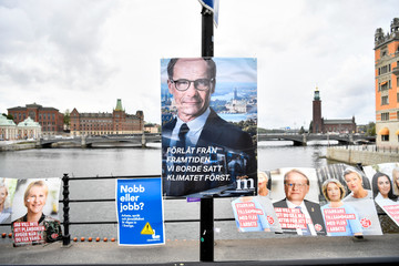 A fake election poster by environmental organisation Greenpeace shows a picture of Moderate Party leader Ulf Kristersson, in central Stockholm