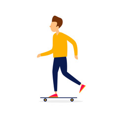 Sport, the guy is riding skateboard, summer. Flat style vector illustration.