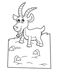 Photo sur Aluminium Le vous même cartoon scene with happy goat on white background - vector coloring page - illustration for children