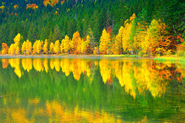 Panorama over a lake and forest in fall season in Saint Ana region - Romania,